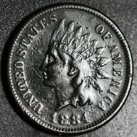 1884 INDIAN HEAD CENT - With LIBERTY - VF VERY FINE Details