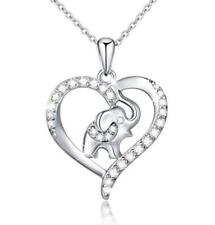 """S925 Silver Lucky Elephant Love Heart Necklace 18"""" Box Chain for Women Girls"""