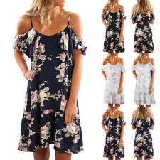 AU Boho Womens Ladies Floral Off Shoulder Sundress Summer Beach Party Mini Dress