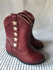 Cat & Jack Red Anika Zipper Western Cowboy Boots with Stars Toddler Girl Size 6