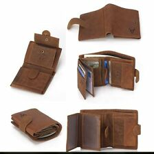 Mens Real Leather Vintage Clutch Wallet Credit Card Purse Cash Coin Holder Brown