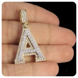 """10K Yellow Gold Over Diamond Custom 3D Initial A Letter Pendant 1.55 CT 1.5"""""""
