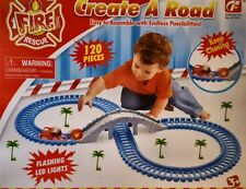 CREATE A ROAD TRACK SET TOY FIRE ENGINE TRUCK SIREN LED LIGHTS BOYS TOY 120PCS