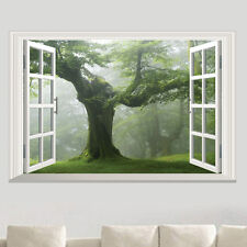 Green Forest Trees Window 3d View Wall Sticker Removable Art Decal Home Decor