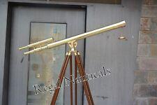 Double Barrel Brass Telescope With Wooden Tripod Stand Marine Floor Telescope