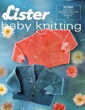 "~ Vintage 1970's Lister Baby Knitting Pattern For Raglan Cardigans ~ 20"" ~ 24"" ~"