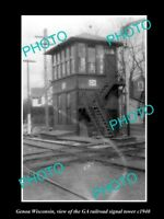OLD LARGE HISTORIC PHOTO OF GENOA WISCONSIN, THE GA RAILROAD SIGNAL TOWER c1940
