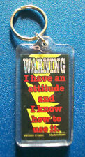 """Plastic Key Chain Ring """"Warning I Have An Attitude and I Know How To Use It"""" New"""