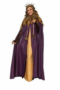 Womens Medieval Maiden Cloak Full Length Purple Cape w/Faux Fur Trim Renaissance