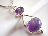 Amethyst Double Gem Oval 925 Sterling Silver Pendant New Imported from India