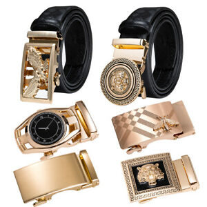Mens Belts Black  Leather Metal Gold Automatic Buckle Tiger Strap Waistband
