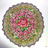 Pink Rose Centered ROUND Floral 100% Silk Scarf with Scalloped Edge Rare Vintage