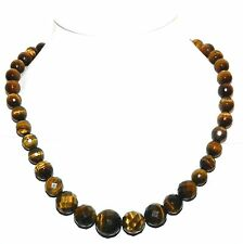 FN230f Golden Tiger's Eye Faceted Round Gemstone Gold Clasp Fashion Necklace 17""