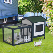 Wooden Rabbit Hutch House Hen Chicken Coop Poultry Wood Cage w/ Run Fence Ramp