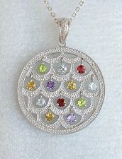 Affinity Necklace Pendant 925 Sterling Silver Genuine Diamond Gemstones Circle