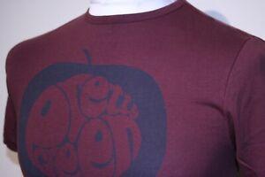 Pretty Green Big Apple Logo Print Crew Neck T-Shirt - XS - Mahogany/Navy - Top