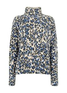 Whistles Jungle Cat Wool Funnel Neck Jumper, Blue/Multi Size XS Hardly Worn
