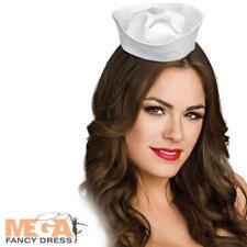Mini White Sailor Hat Ladies Fancy Dress Navy Uniform Womens Nautical Costume Ac