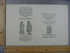 Rare Antique Orig VTG Cancionero Llamado Dança de Galanes Illustration Art Print