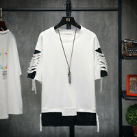 Men Short Sleeve Hip Hip Fashion Oversize T-shirt Chic Loose Tee Summer Short