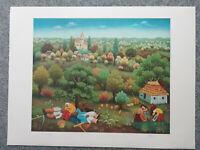 Ivan Generalic Farblithographie 1979 Mittagspause signiert + numm. IX / XXXV