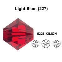 LIGHT SIAM (227) red Genuine Swarovski 5328 XILION Bicone Beads *All Sizes