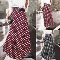 ZANZEA 8-20 Women Summer Polka Dot Long Maxi Dress A-Line Flare High Waist Skirt