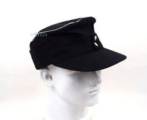 WWII German Officer EM M43 Summer Panzer Field Cotton Cap Hat Black size 57cm