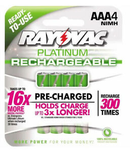 4 Pack RAYOVAC Platinum RECHARGEABLE AAA 800mAh Batteries NIMH No Memory PL724