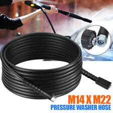 For 10m High Pressure Power Washer Hose Jet Wash Lance M14 X M22 Thread 14mm