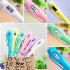Electronic Digital Clock Watch Ballpoint Pen Fit for Exam Fun Student Gift