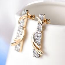 HUCHE Silver & Gold Tone Party Dangle 2mm Diamond Cut White Topaz Chic Earrings