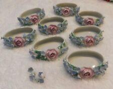 Lot of 8 Open Salts White Oblong w/ Pink Roses, Blue Little Flowers Ceramic ?
