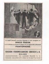 Pubblicità vintage DISCO DISCHI ODEON PANTOPHONE MUSIC advert werbung publicitè