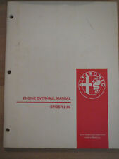 Alfa Romeo Spider 2.0L Engine Overhaul Manual