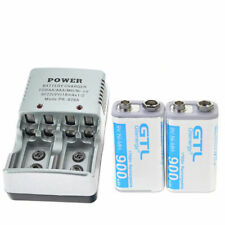 2x 9 Volt 900mAh Power Ni-Mh Rechargeable Battery Cell PPS block & 2-bit charger