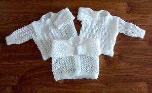 New Hand Knitted Matinee Coats for Newborns (Set of 3 White)