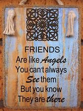 """Handmade Plaque  """" FRIENDS ARE LIKE ANGELS """"  Inspirational Friendship Gift"""