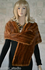 WHISKEY BROWN / RED CHINA MINK FUR STOLE, SCARF, WRAP SHAWL, real fur, inv.3-20