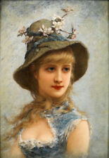 LMOP334 beautiful portrait girl with flower hat art oil painting on canvas