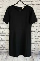 J. CREW Black Knit Shift Dress Short Sleeve Size 8