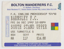 Football Ticket>BOLTON WANDERERS v BARNSLEY Dec 1997