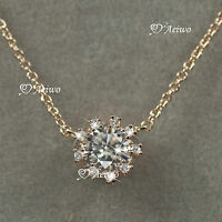 18K GF GOLD MADE WITH SWAROVSKI CRYSTAL PENDANT 0.75CT NECKLACE SMALL