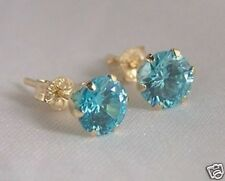 Ladies Girls 9ct Yellow Gold 5mm Round AQUA TOPAZ Stud Earrings X'mas GIFT BOX N