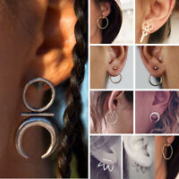 Ethnic Boho Women Elegant Geometric Moon Crystal Rhinestone Ear Stud Earrings