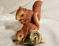 Homco Home Interiors Masterpiece Porcelain Squirrels on Log Figurine Fall Colors