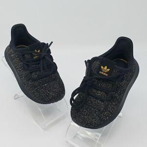 Adidas Tubular Shadow Core Black Gold Glitter Toddlers Shoes Size 5K AC8428
