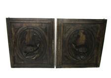 Pair Antique Hand Carved Oak Pheasants  Door Panels Reclaimed Architectural