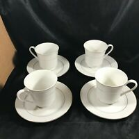 Set of 4 Classic Gold Stripe Tea Cups and Saucers