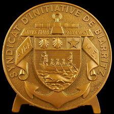 Médaille Syndicat d'initiative de Biarritz Blason et armes 68 mm 1969 medal